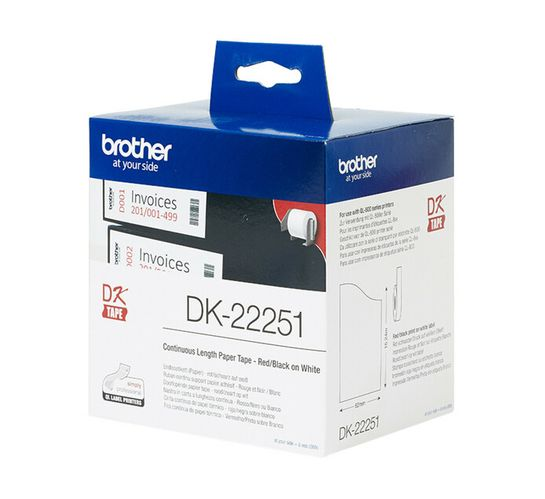 Brother DK-22251 Continuous Length Label Roll Red/Black (62mm x 15.24M)