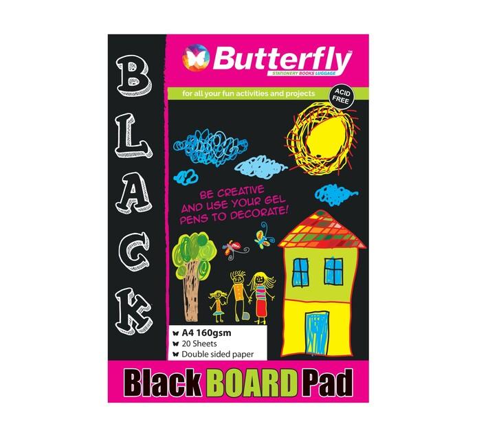 Butterfly A4 Board Pad Black 20 Sheets