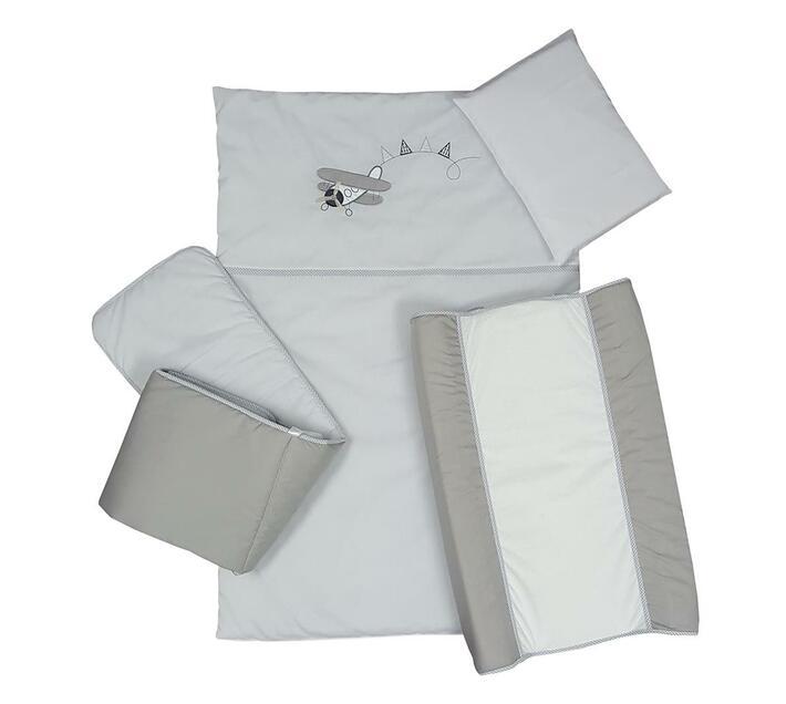 5 Piece Cot Linen Set - Aeroplane Grey