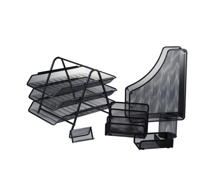 Kenzel No. 19 Metal Desk Set 6-Piece Black