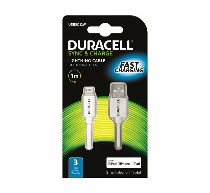 DURACELL APPLE SNYC & CHARGE CABLE