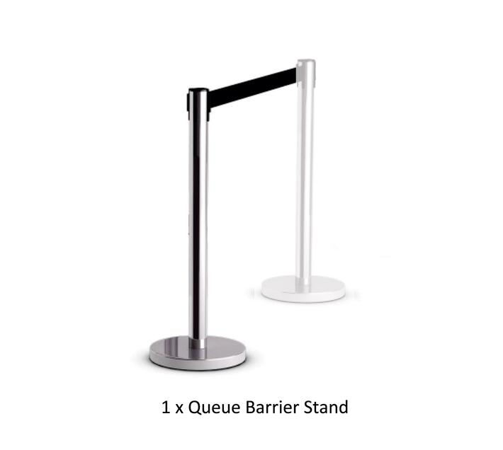 PARROT PRODUCTS Retractable Chrome Queue Barrier with Black Belt 910x320mm