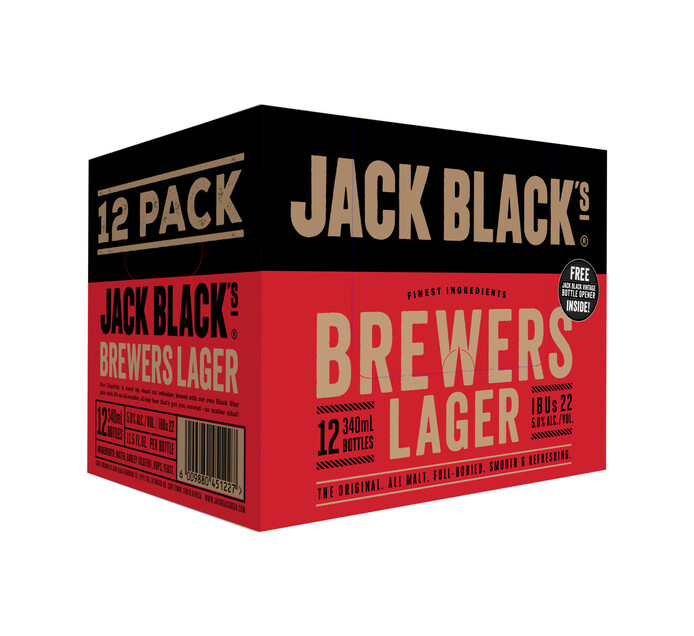 Jack Black Lager 12-Pack with Opener (12 x 340 ml)