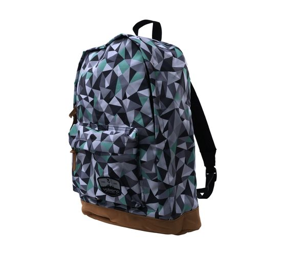 Volkano Suede Series Backpack in Geo Grey Print with Elasticated Device Compartment and Adjustable Shoulder Straps
