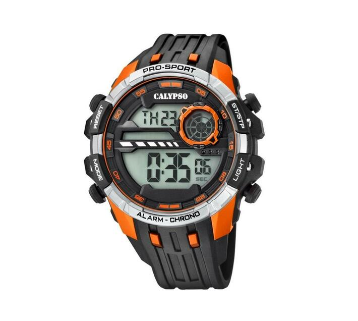 Calypso Digital Mens Pro Sports Chrono Alarm Watch - Orange