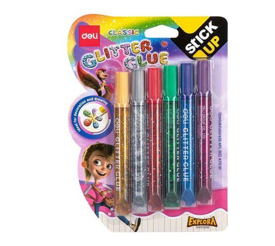 Deli Stationery Glitter Glue 12Ml*6 Colorful