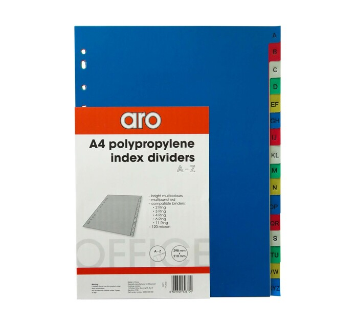 ARO A4 A-Z Tab File Dividers Assorted