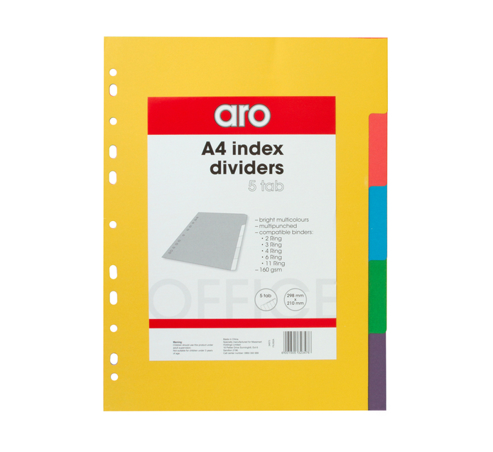 ARO A4 A4 5 Tab File Dividers Assorted 5 Pack