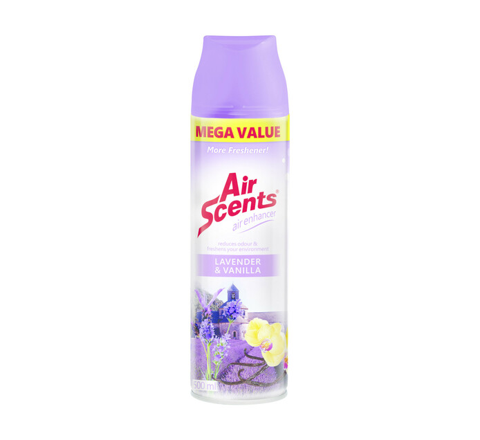 Air Scents Aerosol Air Enhancer Mega Value Lavender and Vanilla (1 x 500ml)