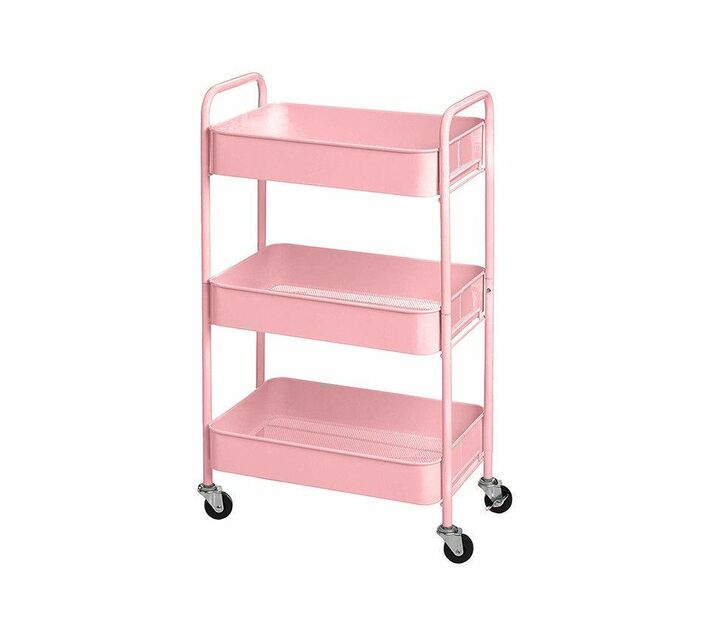 Portable & Foldable Kitchen Trolley Organizer Rack with Wheels - Pink