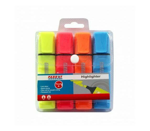 Parrot Highlighter Markers Pouch 4 (Yellow, Pink, Blue, Orange)