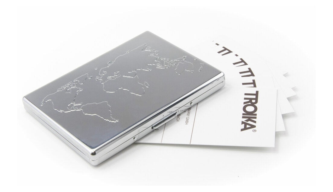 Troika Credit Card Case Business Embossed World Map Silver