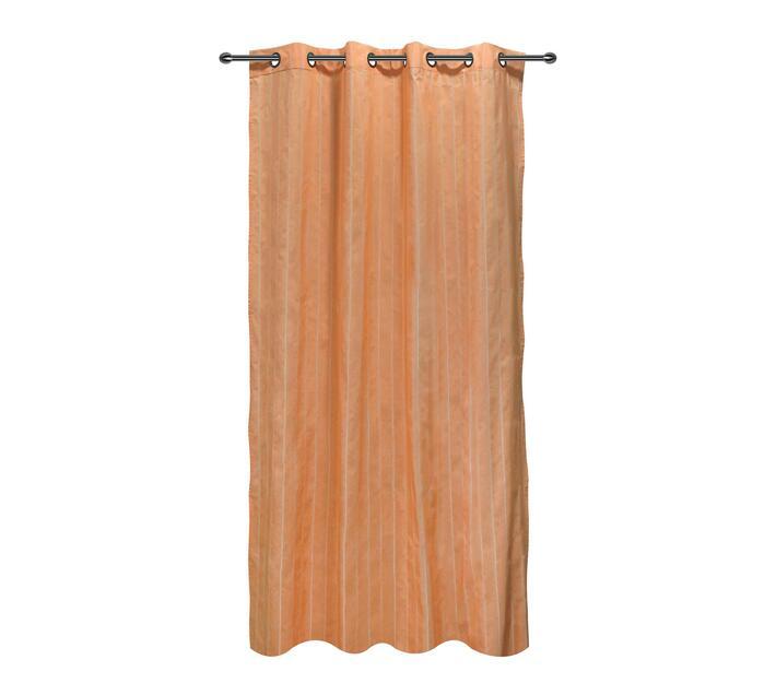 easyhome Nostos Striped Solid Eyelet Curtain Orange 140 x 270cm