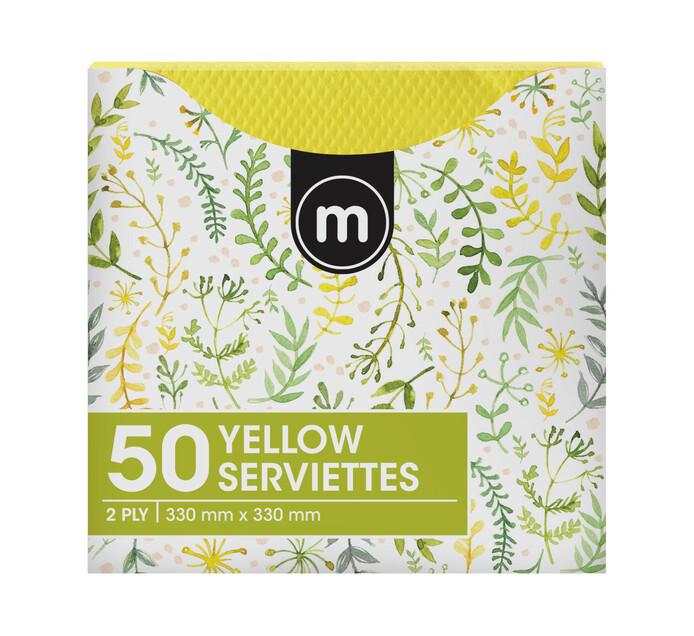 M Brand Serviettes 2Ply 330mmx330mm Yellow (1 x 50's)