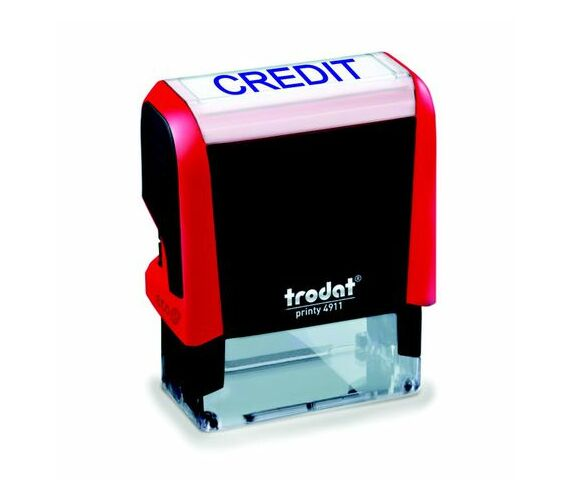 Trodat 4911 S-Printy - Stock Text Stamp - Credit Blue Ink