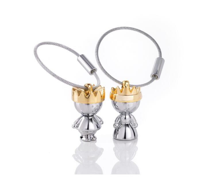 Troika Key-ring Prince and Princess Silver and Gold Set of 2