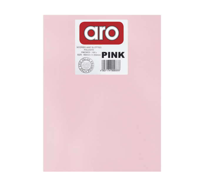 ARO Straight Cut Folders 100 Pack Pink