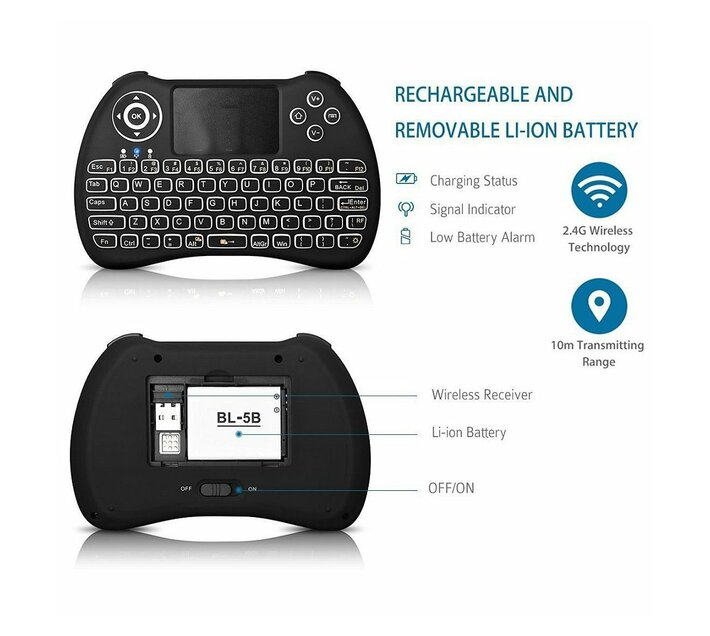 X96 Mini Android Media TV Box with H9+ Backlit Keyboard - 2GB RAM