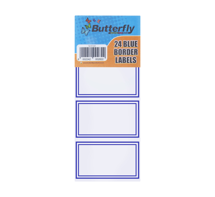 Butterfly Self-Adhesive Blue Border Labels 24-Pack