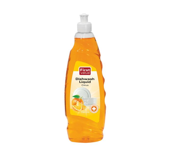 First Value Dish Washing Liquid Anti Bacterial Citrus (1 x 750ml)