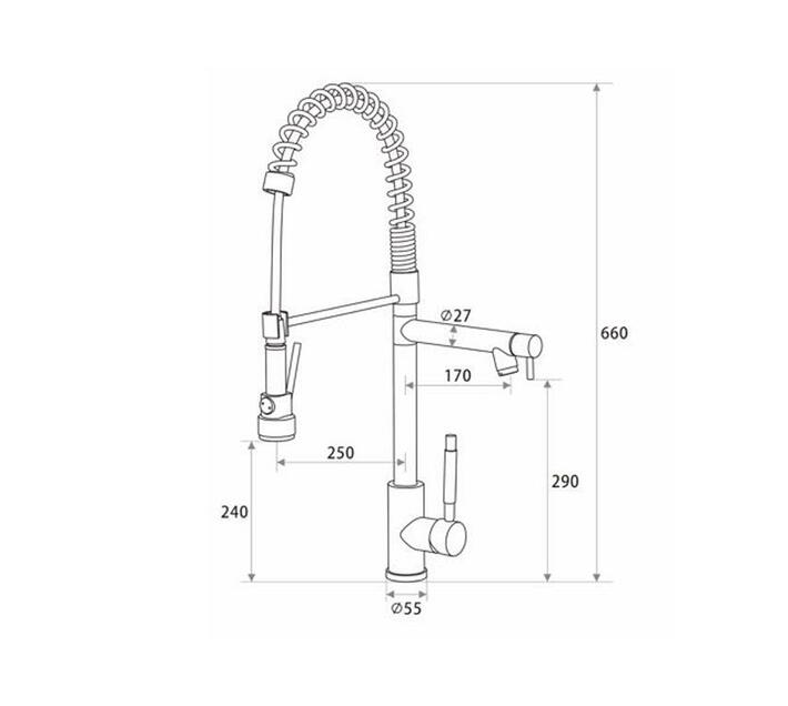 CHROMECATER Pro-Kitchen Mixer with Pull Out Spray & Swivel Spout – Matt Black