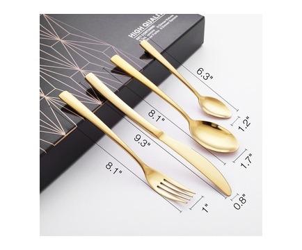 Maisonware 24 Piece 410 Grade Stainless Steel Dinnerware Cutlery Set - Gold