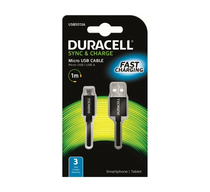 Duracell 1 m Micro USB charge and Sync Cable Black