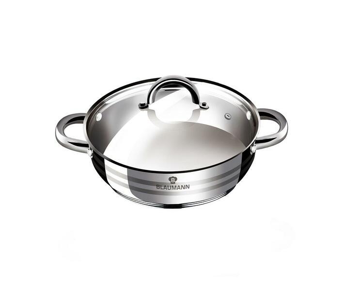 Blaumann 22cm Stainless Steel Shallow Pot Gourmet Line