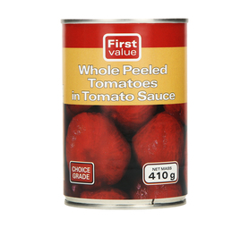 FIRST VALUE Whole Peeled Tomato (12  x 410g)