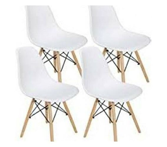 Wooden Leg Dining Chairs - Four Pack -White Colour