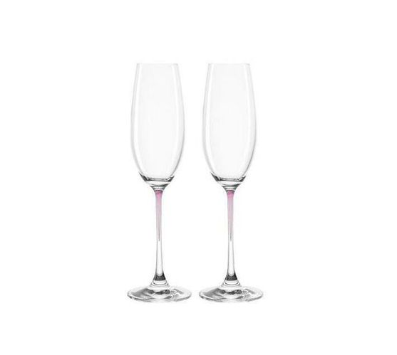 Leonardo Clear Champagne Glass with Purple Stem LA Perla Set of 2