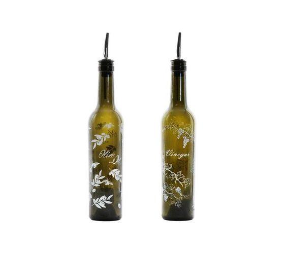 Consol Antique Green Oil & Vinegar Bottle Set