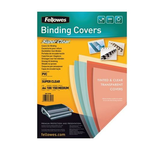 Fellowes A4 PVC 150 Micron Clear Cover 100-Pack