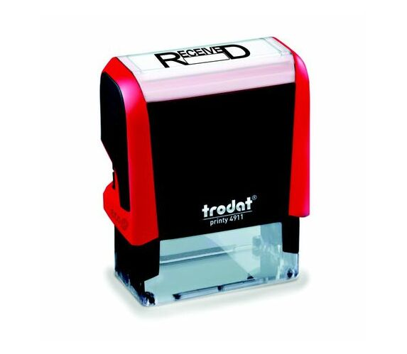 Trodat 4911 S-Printy - Stock Text Stamp - Received Black Ink