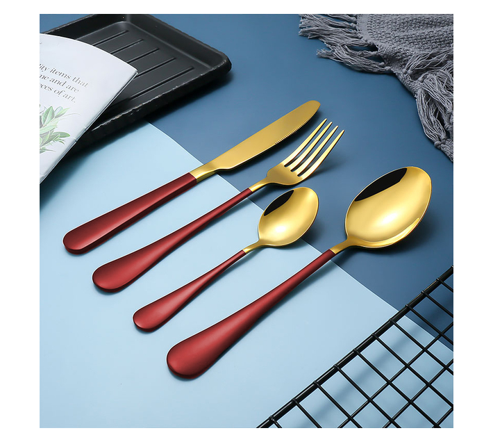 LMA Authentic Two-Tone Cutlery Dinner Set & PVC Pack - 24 Piece - Red