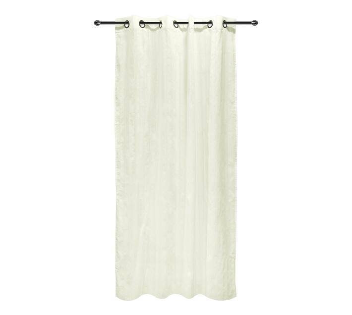 easyhome Nostos Striped Solid Eyelet Curtain White 140 x 270cm