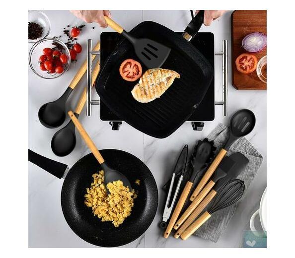 Kitchen Utensils 12 Piece Silicone with Holder Black