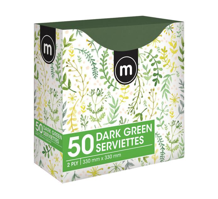 M Brand Serviettes 2Ply 330mmx330mm Green (1 x 50's)