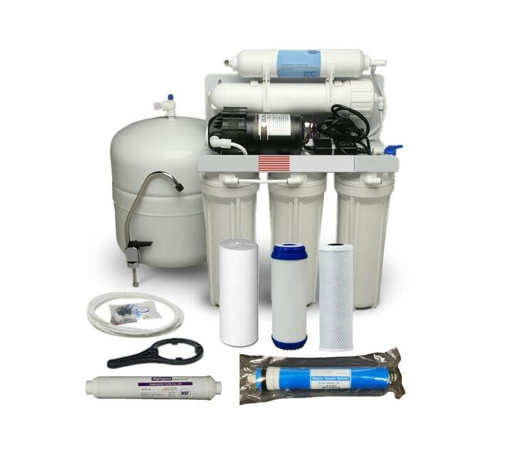 Reverse Osmosis Water Filtration System - 5 Stage 50 GPD includes tank and pump