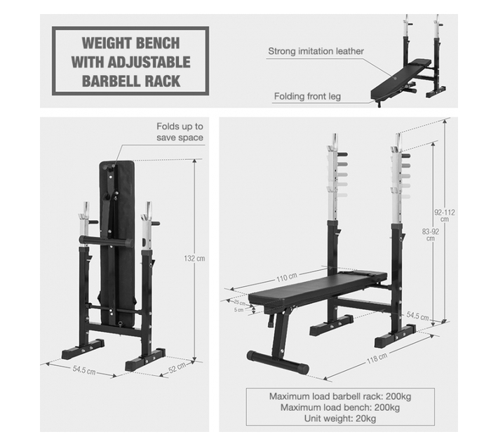 GORILLA SPORTS SA - Weight Bench with Adjustable Barbell Rack Black