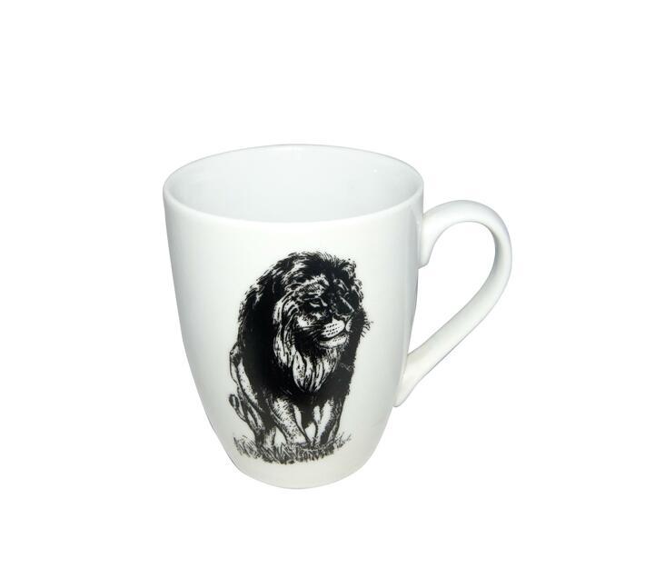 Classic white Lion animal print mug