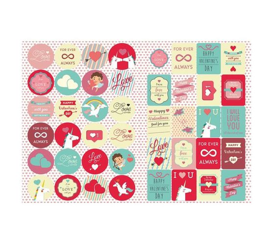 Redfern Self-Adhesive Valentines Day Stickers (A5)