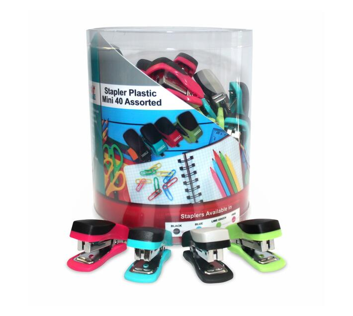 PARROT PRODUCTS 40 Mini Assorted Plastic Staplers