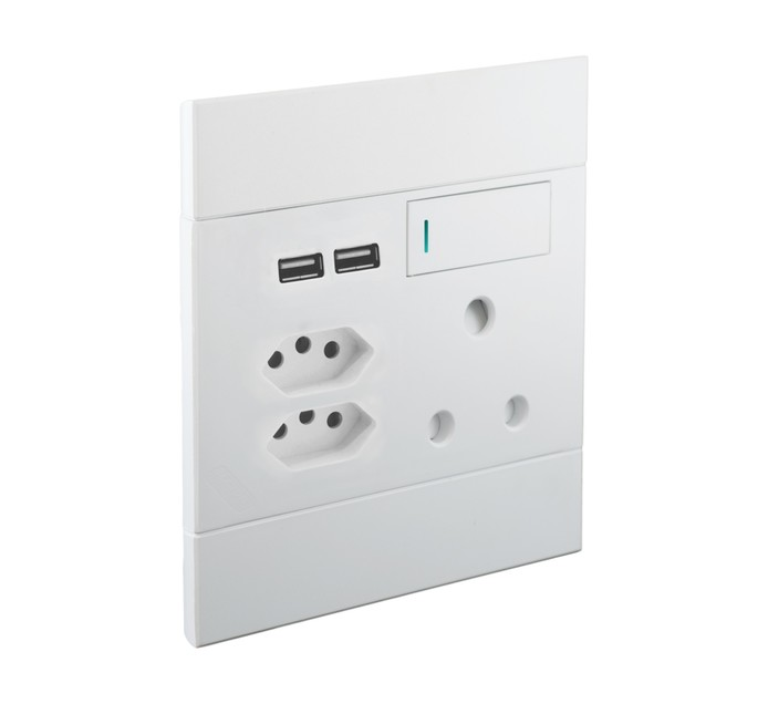Major Tech 100 mm x 100 mm Veti 2 Euro USB Single Socket