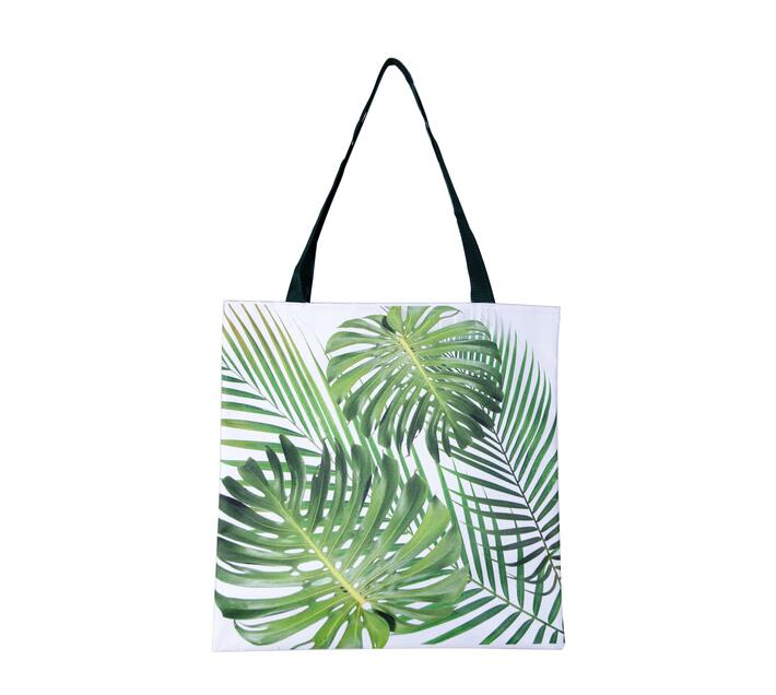 Tote Bag made with canvas with foliage print.