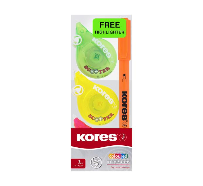 Kores Dry Correction Tape 3 Pack + Highlighter