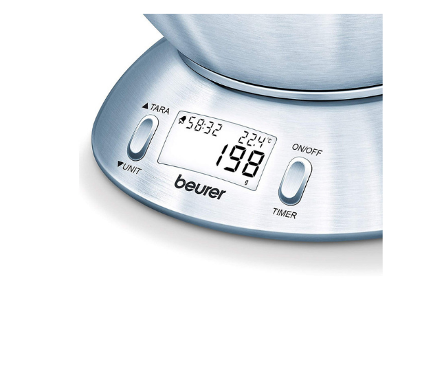 Beurer Kitchen Scale KS 54 with Large Stainless Steel Bowl