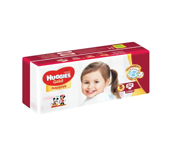 Huggies Jumbo Unisex Gold Disposable Nappies Size 5 (2 x 52's)