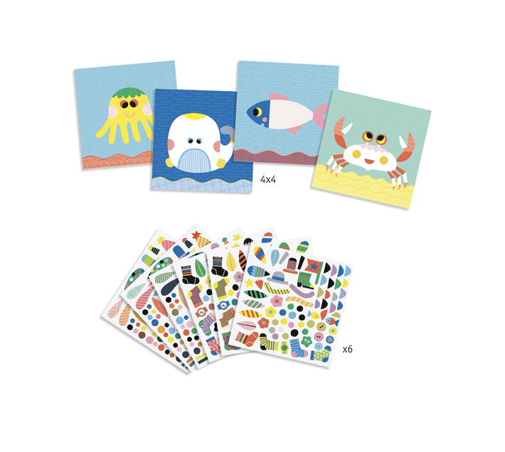 Djeco Sticker Collage and Folding-Hide and Seek
