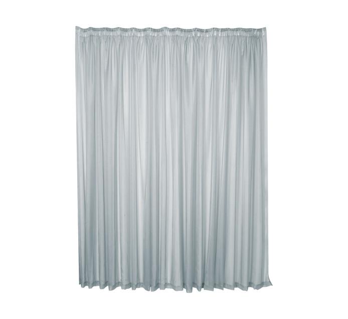 Design Collection 500cm x 218cm Plain Voile Taped Curtain Grey